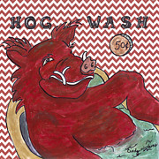 Razorbacks Painting Prints - Chevron Hog Wash Print by Cindy Watkins