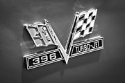 Jet Photo Framed Prints - Chevy 396 Turbo-Jet Emblem Black and White Picture Framed Print by Paul Velgos