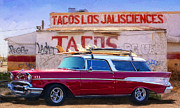 Surfboards Digital Art - Chevy and Tacos by Ron Regalado