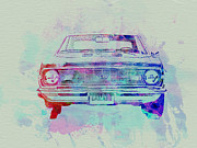 Engine Drawings Posters - Chevy Camaro Watercolor 2 Poster by Irina  March