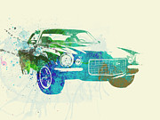 Laguna Seca Prints - Chevy Camaro Watercolor Print by Irina  March
