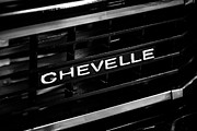 American Muscle Car Prints - Chevy Chevelle Grill Emblem Black and White Picture Print by Paul Velgos
