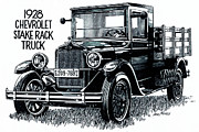 Rack Drawings Prints - Chevy Truck Print by Dale Michels