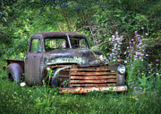 Rusted Cars Digital Art Framed Prints - Chevy Truck Framed Print by Lori Deiter