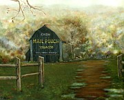 Split Rail Fence Painting Prints - Chew Mail Pouch Tobacco Print by Vicky Watkins