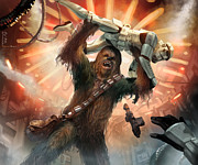 Star Wars Digital Art Posters - Chewbacca - Star Wars the Card Game Poster by Ryan Barger