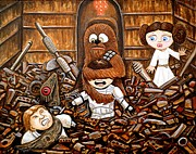 Chewbacca Paintings - Chewie get off my me you Big Furry Oaf by Al  Molina
