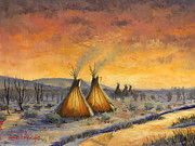 Western Western Art Painting Framed Prints - Cheyenne Comfort Framed Print by Jeff Brimley