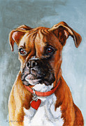 Boxer Puppy Painting Framed Prints - Cheyenne Framed Print by Richard De Wolfe