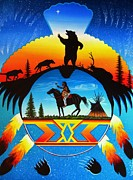 Paws Paintings - cheyenne Shield by Valdo Evans