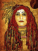 Brave Mixed Media Metal Prints - Cheyenne Woman Warrior Metal Print by Pepita Selles