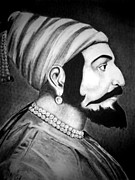 Light And Dark   Drawings - Chhatrapati Shivaji Maharaj  by Jaimeen Hinge