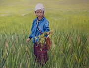 Rice Field Paintings - Chiang Mai Rice Field by Andrea Vreken