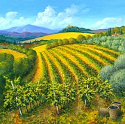 Tuscan Sunset Paintings - Chianti Feeling 30 x 30 by Michael Swanson