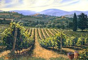 Italian Landscapes Painting Framed Prints - Chianti Vines Framed Print by Michael Swanson