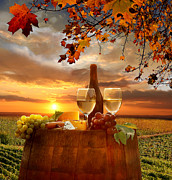 Grapevine Red Leaf Photo Posters - Chianti vineyard in Italy Poster by Tomas Marek