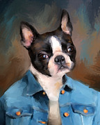 Dog Art Paintings - Chic Boston Terrier by Jai Johnson