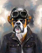 Boxer Dog Art Paintings - Chic Boxer Aviator by Jai Johnson