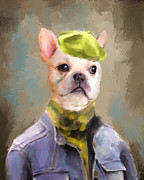 Dog Clothes Posters - Chic French Bulldog Poster by Jai Johnson