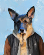Bomber Painting Framed Prints - Chic German Shepherd Framed Print by Jai Johnson