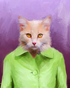Green Jacket Framed Prints - Chic Orange Kitty Cat Framed Print by Jai Johnson