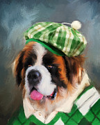 Dog Art Paintings - Chic Saint Bernard Golfer by Jai Johnson