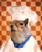 Squirrel Painting Prints - Chic Squirrel Chef Print by Jai Johnson