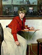 Wine-glass Framed Prints - Chica in a Bar Framed Print by Ramon Casas i Carbo