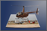 Outdoor Airport Posters - Chicago 08 Helicopter Landing Poster by Thomas Woolworth