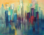 Sailboats In Water Painting Posters - Chicago A Reflection Poster by Julie Lueders
