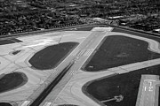 Midway Airport Prints - Chicago AirPlanes 04 Black and White Print by Thomas Woolworth