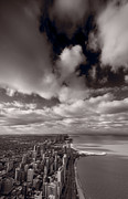Lake Shore Drive Posters - Chicago Aloft BW Poster by Steve Gadomski