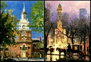 Kinkade Prints - Chicago and Philadelphia Skyline Pair Print by Thomas Kinkade