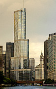 Julie Palencia Digital Art Prints - Chicago Architecture Old and New Print by Julie Palencia