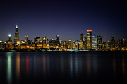 Andrea Silies Framed Prints - Chicago at Night Framed Print by Andrea Silies