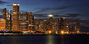 Fine Art Photo Art - Chicago at Night by Andrew Soundarajan