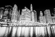 Columbus Framed Prints - Chicago at Night Black and White Picture Framed Print by Paul Velgos