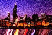 Distorted Framed Prints - Chicago at Night Digital Art Framed Print by Paul Velgos