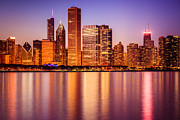 Chicago Prints - Chicago at Night Downtown City Lakefront Print by Paul Velgos