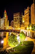 Riverwalk Photos - Chicago at Night Picture by Paul Velgos
