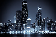 Lake Michigan Prints - Chicago at Night with Hancock Building Print by Paul Velgos