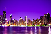 Purple Building Framed Prints - Chicago at Night with Purple Sky Framed Print by Paul Velgos
