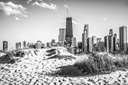 Famous Buildings Posters - Chicago Beach and Skyline Black and White Photo Poster by Paul Velgos