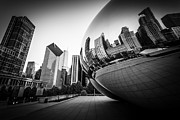 Cloud Gate Prints - Chicago Bean Cloud Gate in Black and White Print by Paul Velgos