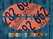 Sport Mixed Media Framed Prints - Chicago Bears Football Recycled License Plate Art Framed Print by Design Turnpike