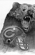 Pro Football Drawings Posters - Chicago Bears Helmet Poster by Jonathan Tooley