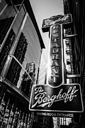 Brewery Prints - Chicago Berghoff Restaurant Sign in Black and White Print by Paul Velgos