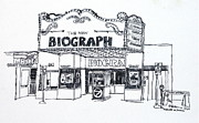 Theater Drawings - Chicago Biograph Theater by Robert Birkenes