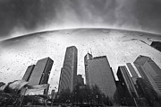 Black And White Photography Metal Prints - Chicago Black and White Photography Metal Print by Dapixara Art