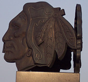 American Hockey League Framed Prints - Chicago Black Hawks Statue Framed Print by Thomas Woolworth